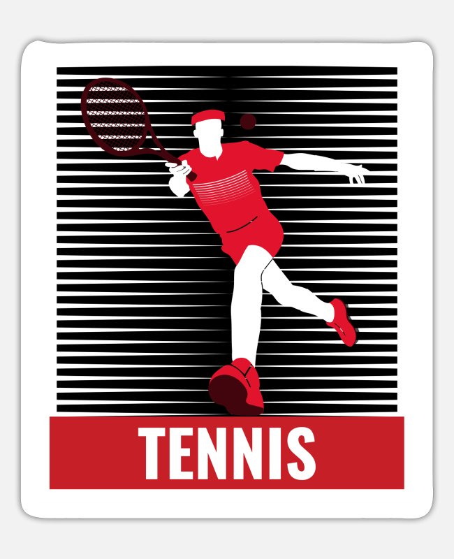 Tennis Racket Stickers - Tennis tennis player tennis court - Sticker white mat