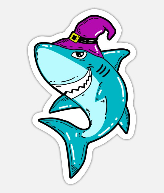 Witchcraft Stickers - Shark Shark Witch Witchcraft Halloween - Sticker white mat