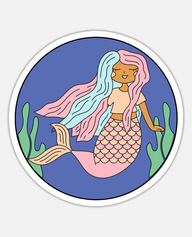 Water Stickers - Princess mermaid mythical creature girl - Sticker white mat