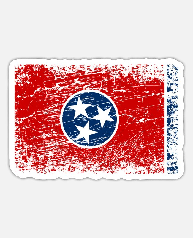 Chattanooga Stickers - Tennessee ensign flag used look - Sticker white matte
