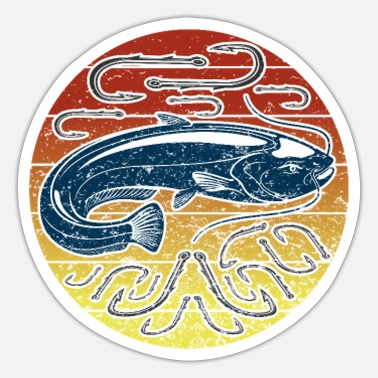 Freshwater Catfish freshwater fish design with hook - Sticker