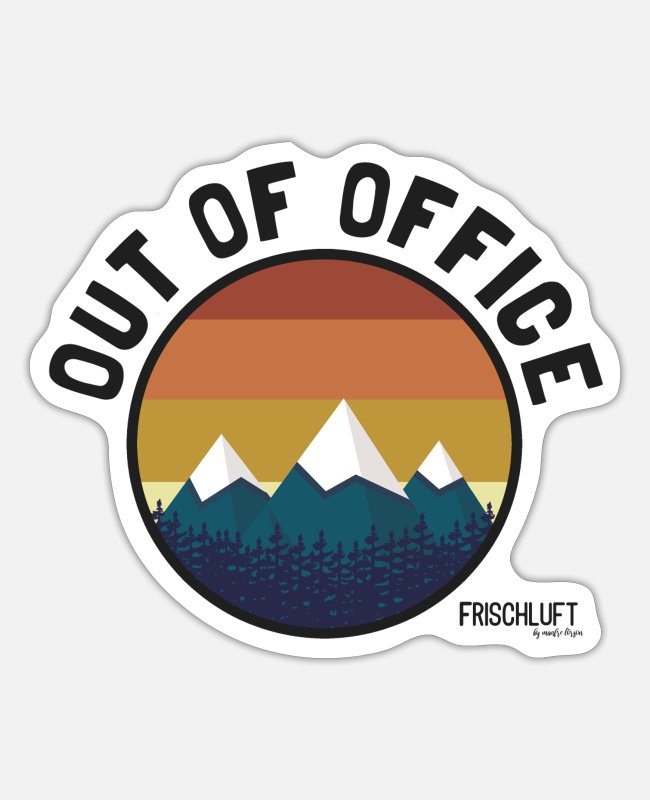 Mountains Stickers - Out of office - Sticker white matte