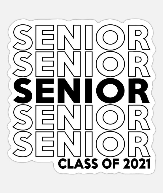Class Of Stickers - Senior 2021 Repeat Pattern - Sticker white mat