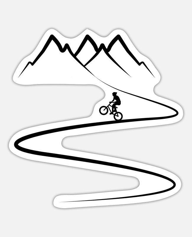 Downhill Sticker - BMX - Downhill - Berge - Gebirge - Sticker Mattweiß