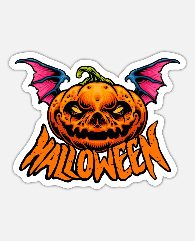 Pilot Stickers - Halloween Pumpkin Grinning - Sticker white mat