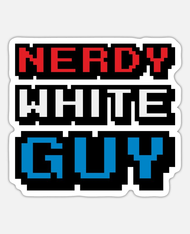 Movie Stickers - nerdy white guy - Sticker white mat