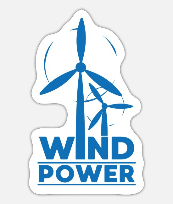 Nature Stickers - Wind power environmental protection gift environment - Sticker white mat