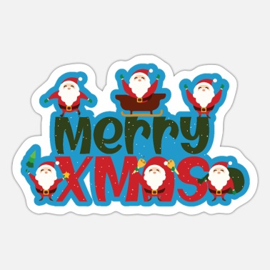Bear Merry Christmas Santa Clauses - Sticker