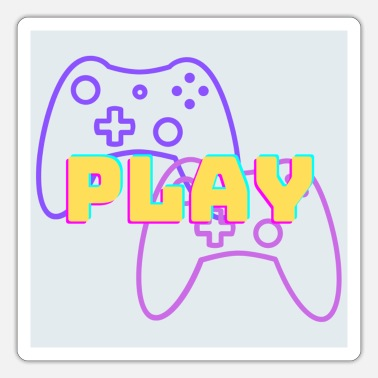 Play - Gray Background - Purple / Rose - Sticker