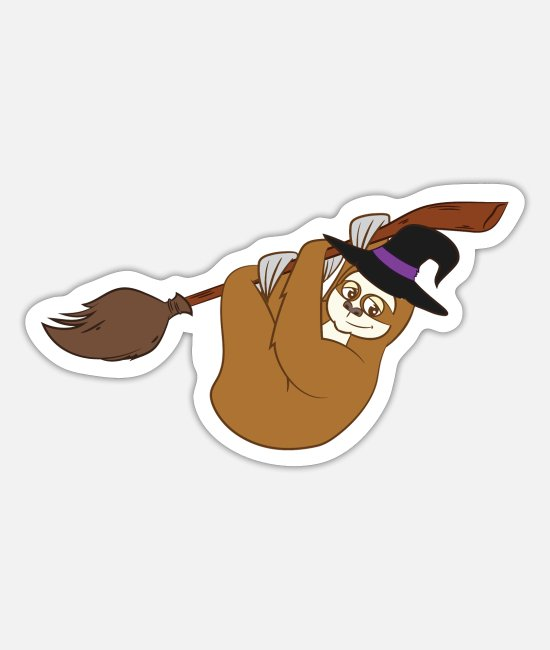 Witchcraft Stickers - Halloween Costume - Funny Sloth In A Broomstick - Sticker white mat