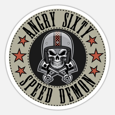 Bursdag Angry SIXTY 60 biker motorcycle - Sticker