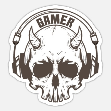 Online Gamer kranium med horn og headset - Sticker