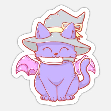 Bat Wings Cute Cat With Knife and Bat Wings - Sticker