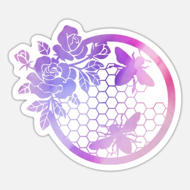 Bumble Bee Bumble Bee Flower Wreath - Sticker