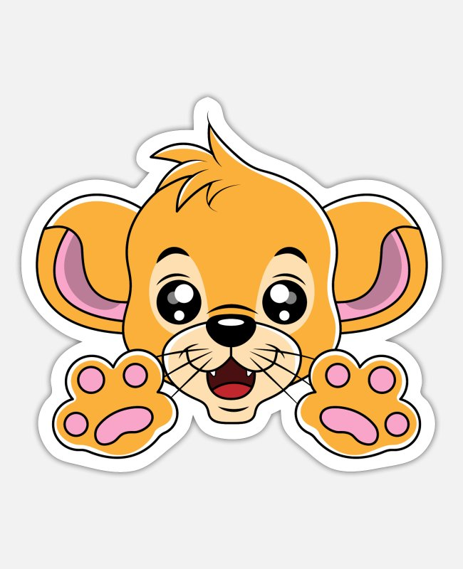 Nature Stickers - Cute baby tiger paws wild cat gift idea - Sticker white mat