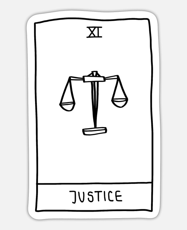 11 Stickers - Justice Tarot Card - Sticker white mat