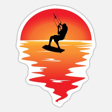 Surfing Kitesurfer surfs before sunset - Sticker