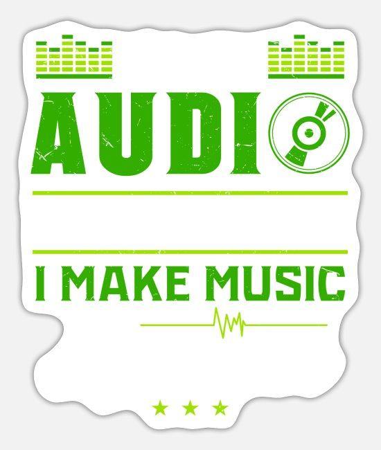 Bass Stickers - AUDIO ENGINEER: Awesome Music - Sticker white mat