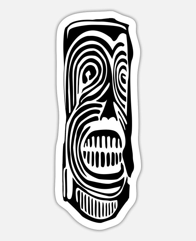 New Zealand Stickers - Tiki Totem Pole Face - Sticker white mat
