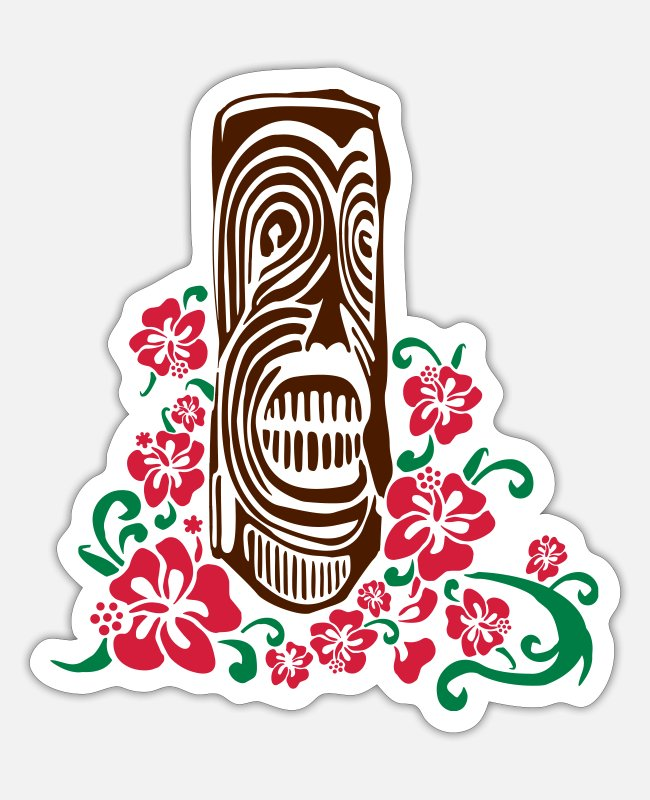 New Zealand Stickers - Tiki Totem with Hibiscus Flowers - Sticker white mat