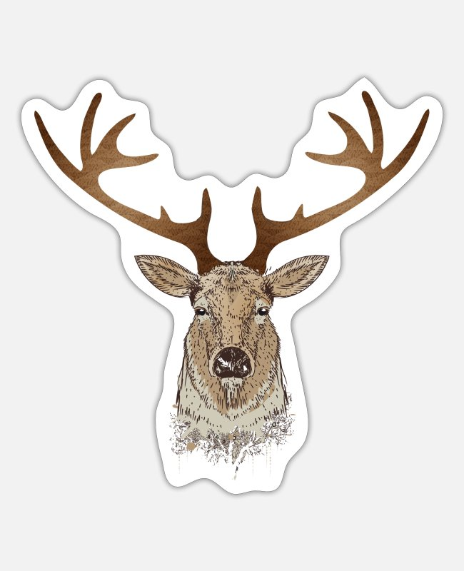 Red Deer Stickers - proud stag head with magnificent antlers - Sticker white mat