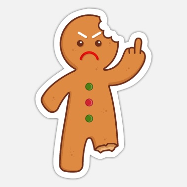 Backen Lebkuchenmann Stinkefinger Mittelfinger - Sticker
