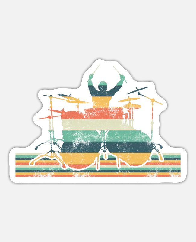 Drummer Stickers - Drummer drums drummer drum sticks music - Sticker white mat