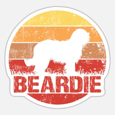 Bearded Bearded Collie Beardie sun silhouette - Sticker
