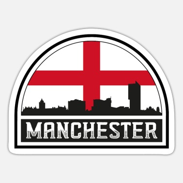 Cute Country T Manchester England Skyline Silhouette Englische Flagge - Sticker