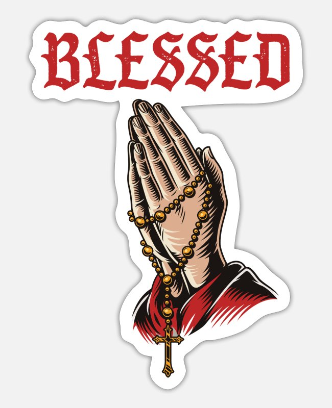 Church Stickers - Blessed Pray Rosary God Pastor Church Religion - Sticker white matte