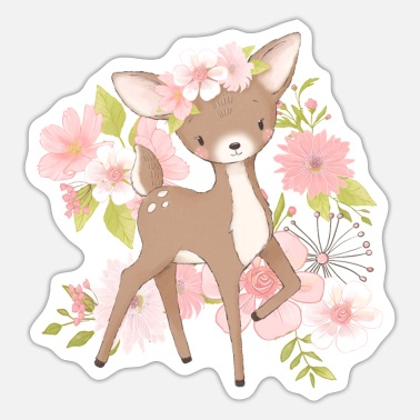 Hind Children's deer fawn red deer hind flower motif - Sticker