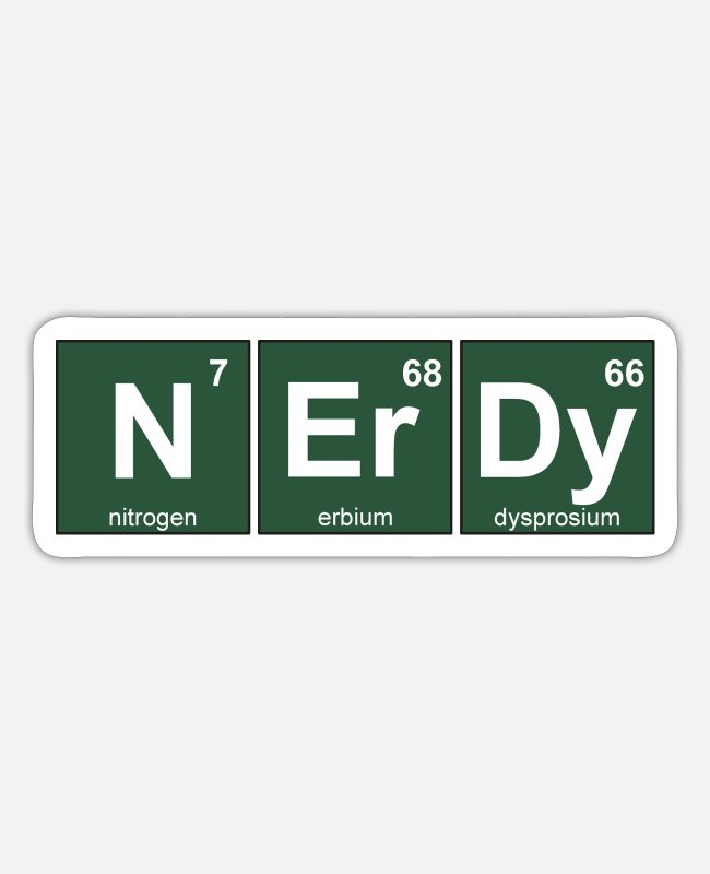Periodic Table Stickers - Nerdy Periodic Table - Sticker white mat