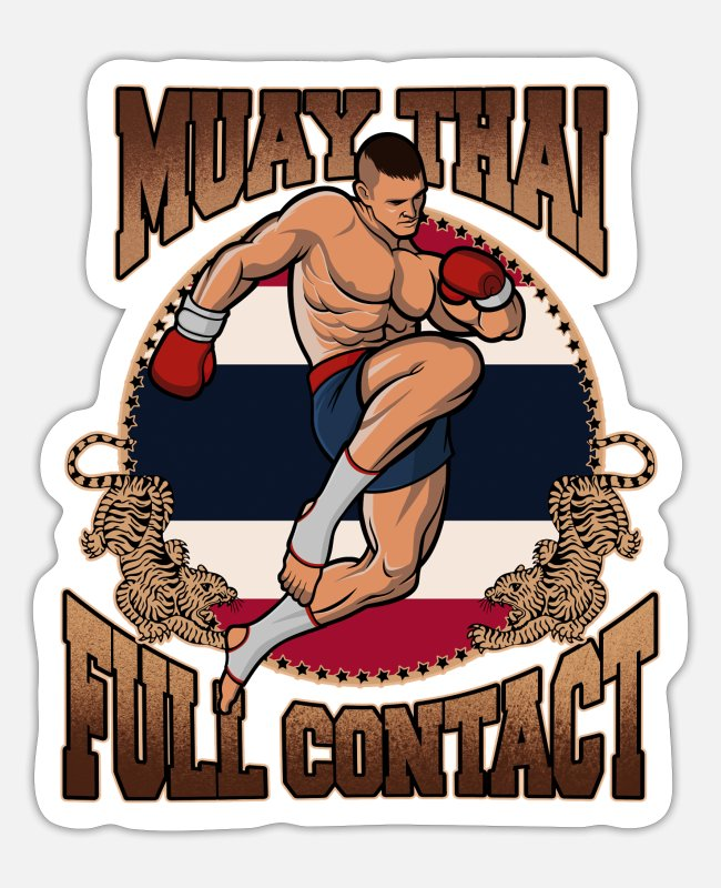 Martial Arts Stickers - Muay Thai Full Contact MMA Martial Arts Gift - Sticker white mat