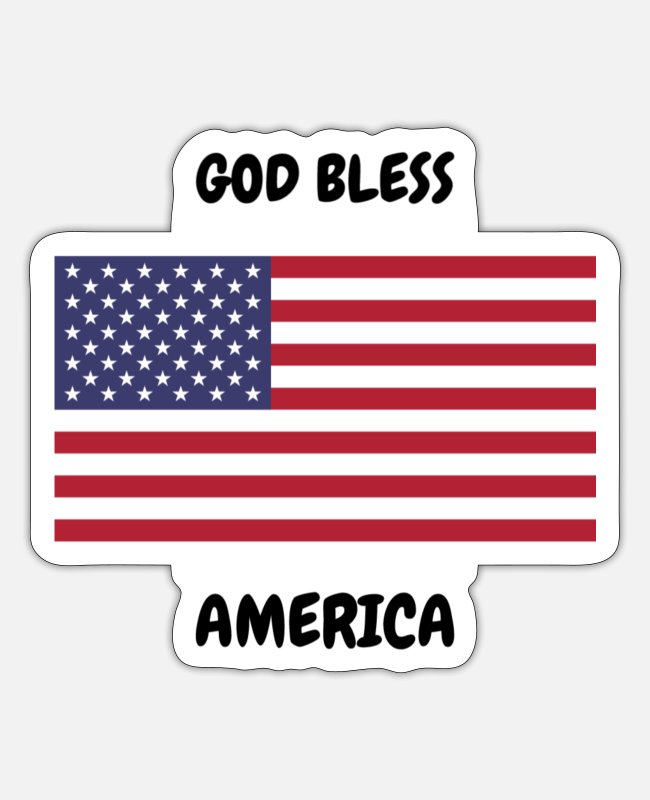 Bless You Stickers - God Bless America - Sticker white mat