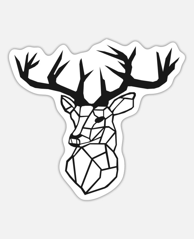 Drawing Stickers - Minimalistic - Deer / stag - Sticker white mat