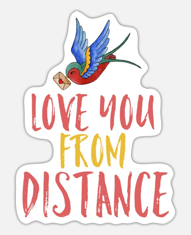 Social Stickers - Social distancing love - Sticker white mat