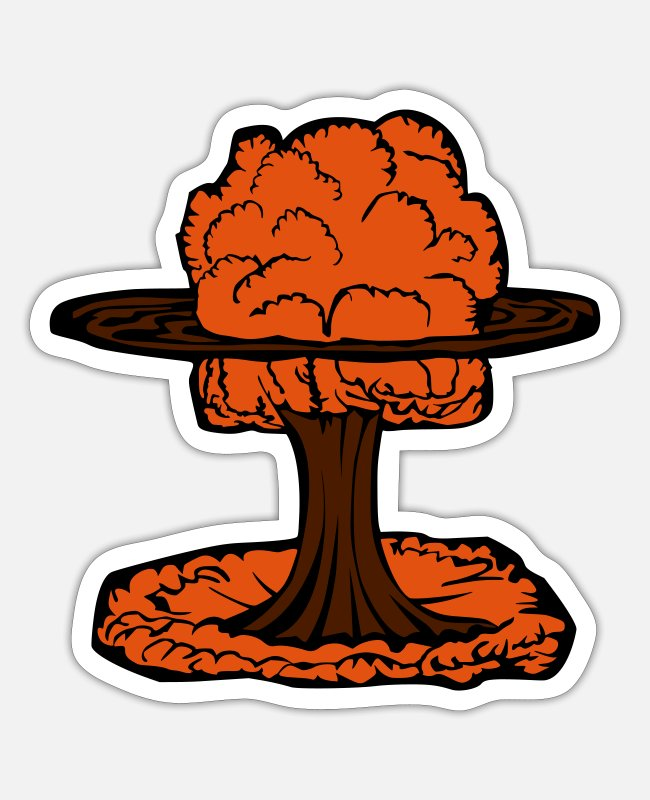 Chernobyl Stickers - Nuclear Explosion Mushroom Cloud - Sticker white mat