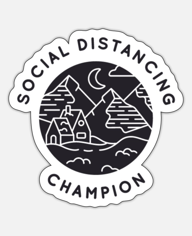Social Stickers - Social Distancing Champion - Sticker white mat
