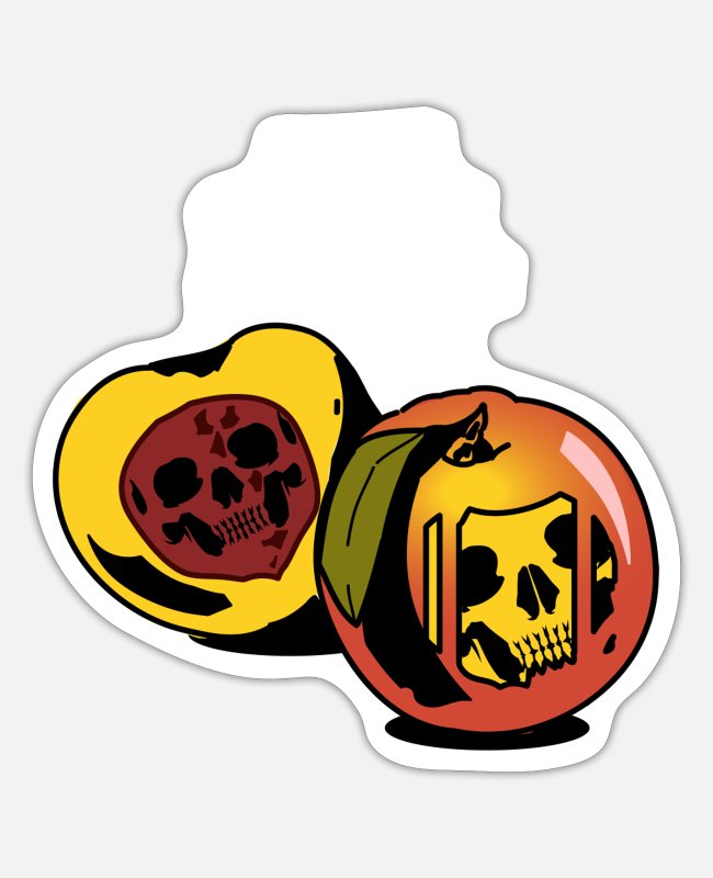 Grin Stickers - Peach skull fruit gift - Sticker white matte