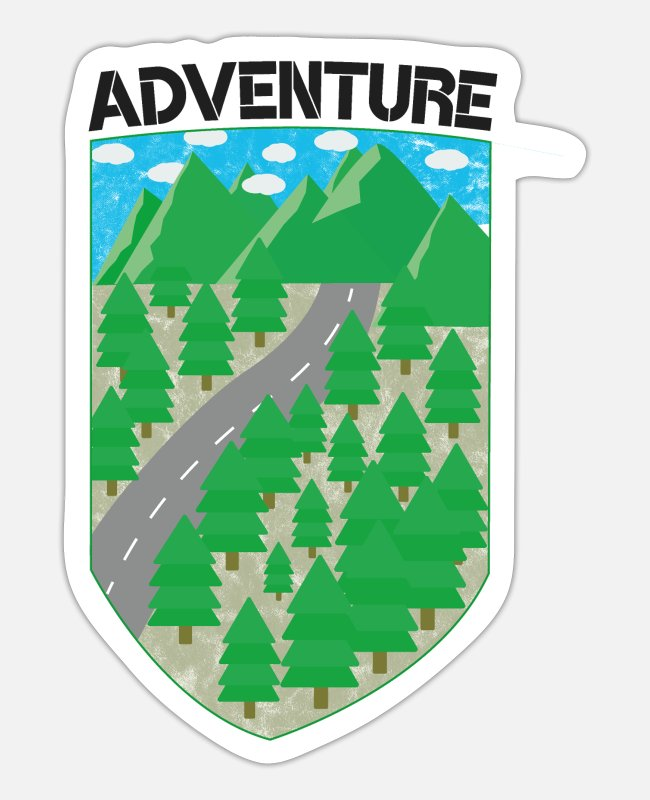 Mountains Stickers - Adventure - Sticker white mat