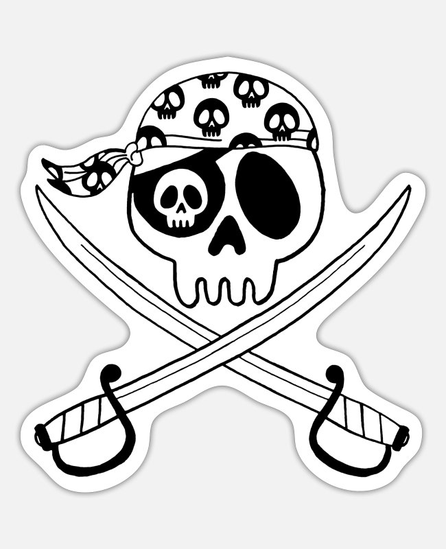 Marine Stickers - Black pirate skull - Sticker white matte