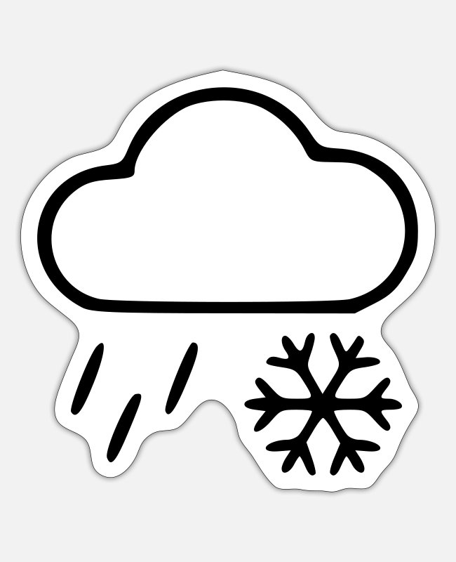 Weather Stickers - Rain & Snow - Sticker white mat