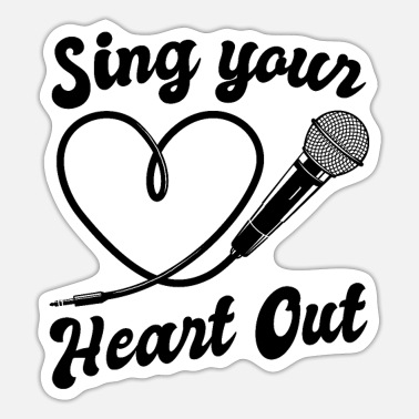 I Heart Karaoke Sing Your Heart Out I Microphone Singing Karaoke - Sticker