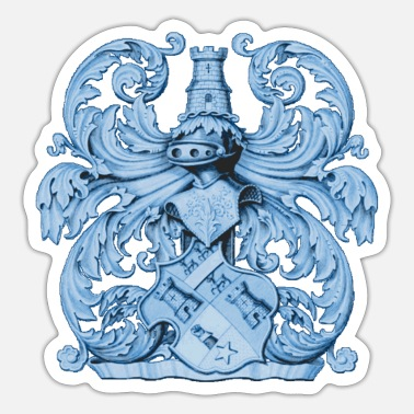 Heraldry Medieval heraldry coat of arms with knight armor - Sticker