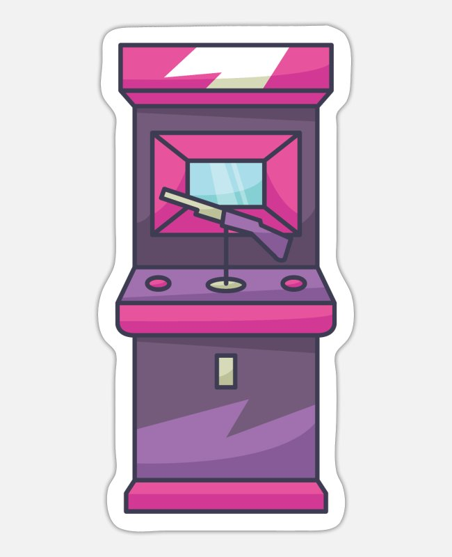 Sigte Stickers - Fps Arcade Machine - Sticker mat hvid