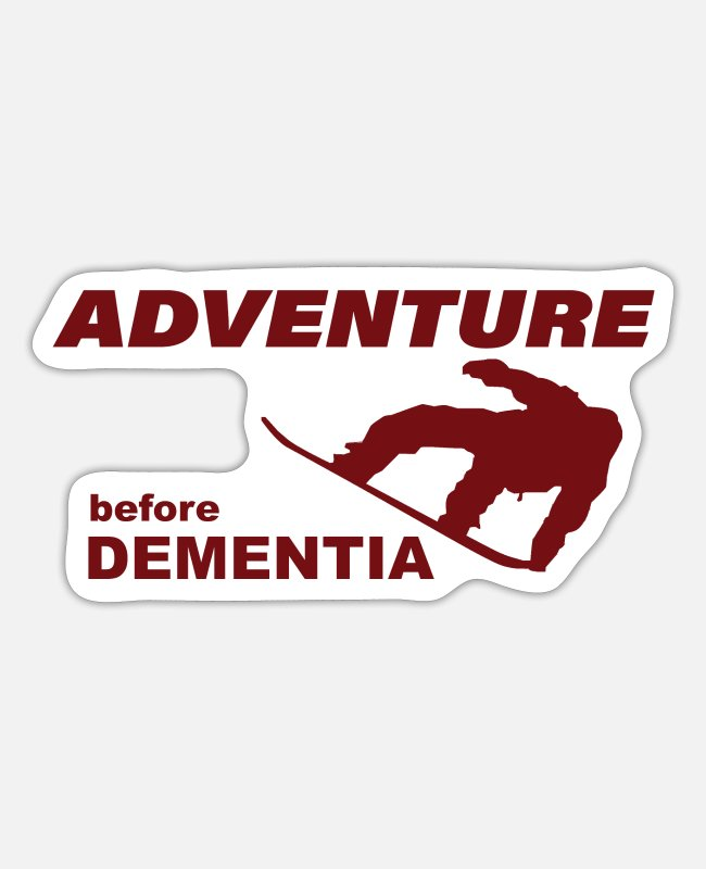 Mountains Stickers - SNOWBOARD ADVENTURE - Sticker white matte