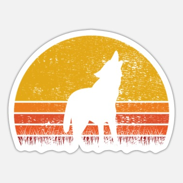 Pack-animals Wolf Wolves Animal Dog Retro Sunrise Gift - Sticker