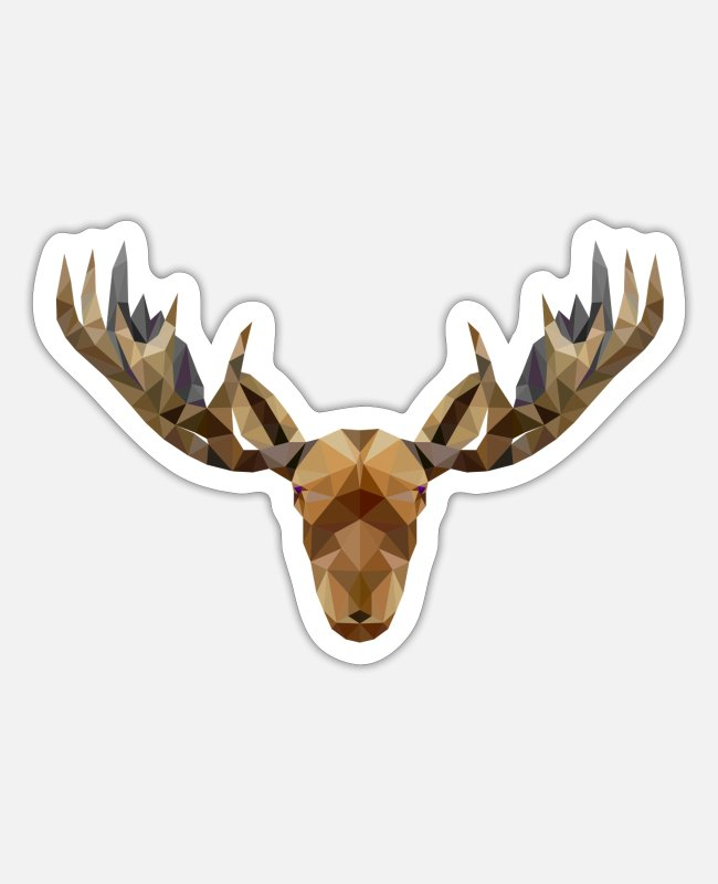 Stag Stickers - Moose reindeer stag antlers hunting gift - Sticker white mat