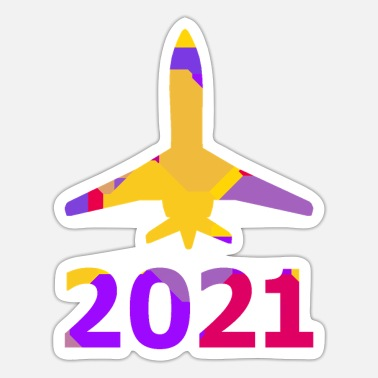 Take-off-plane Airliner taking off and the year 2021 - Sticker