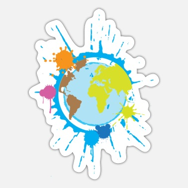 Global Globale wereld in kleur - Sticker
